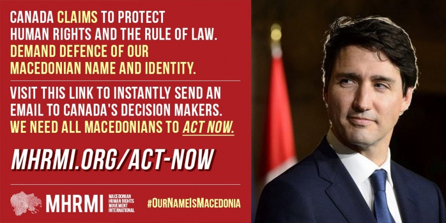ACTION ALERT: Email Canadian MPs and Demand Defence of Macedonia's Name and Identity!