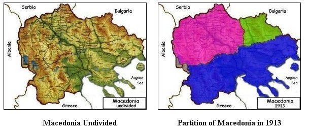 Map of Macedonia - Undivided and its partition in 1913