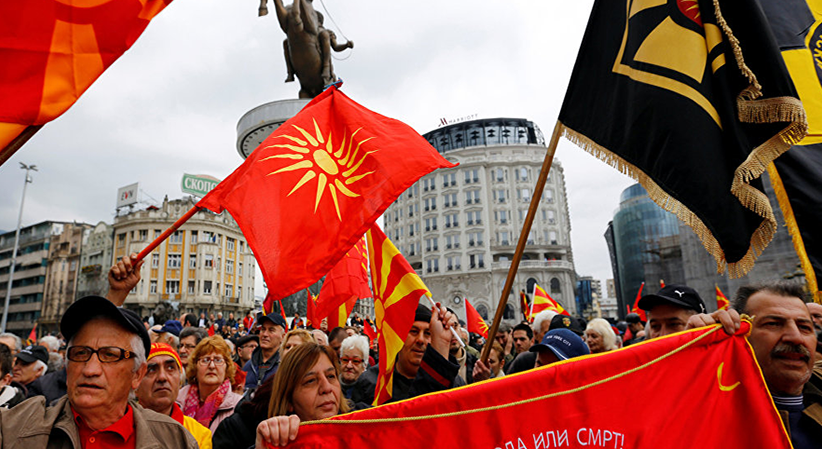 Rally in Skopje Macedonia in defence of Macedonians name and identity