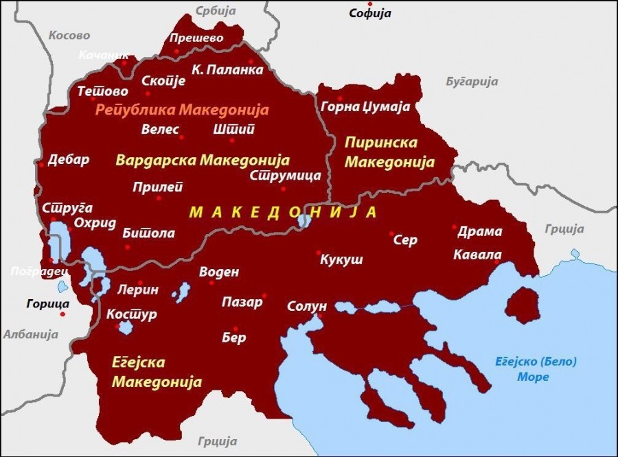 Map of partitioned Macedonia