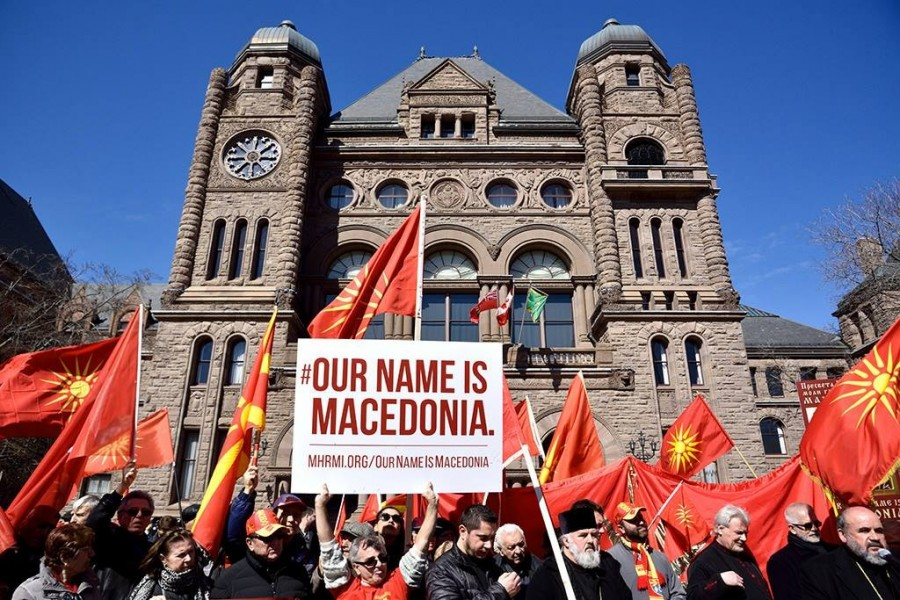Rally in Toronto protesting Canadas decision to support the forced renaming of Macedonia and Macedonians