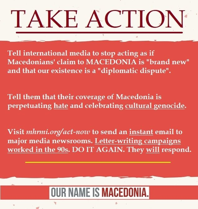 TAKE ACTION: Tell International Media to STOP Perpetuating Hate Against Macedonians